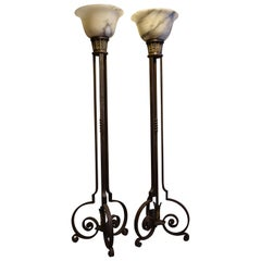 Pair of Wrought Iron Floor Lamps with Alabaster Vasques, circa 1930