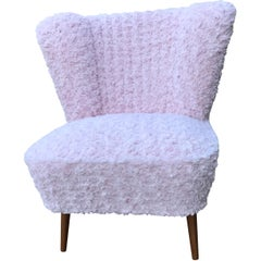 1950s Cocktail Chair Pink Faux Fur