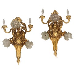 Pair of Late 19th-Early 20th Century Gilt Bronze Five-Light Sconces