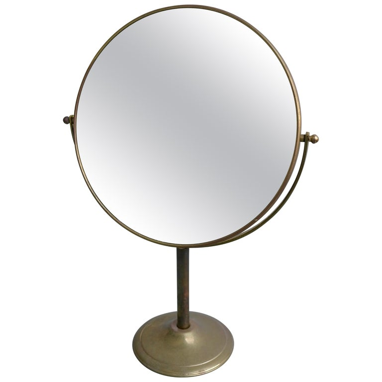 Vanity Make Up Table Mirror in Brass, France, 1940s For Sale