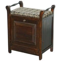 Victorian Mahogany Piano Stool Bauhaus Upholstery Internal Music Storage Drawer