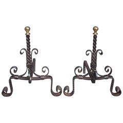 Pair of American Wrought Iron and Brass Ball Top Diminutive Andirons , C. 1840