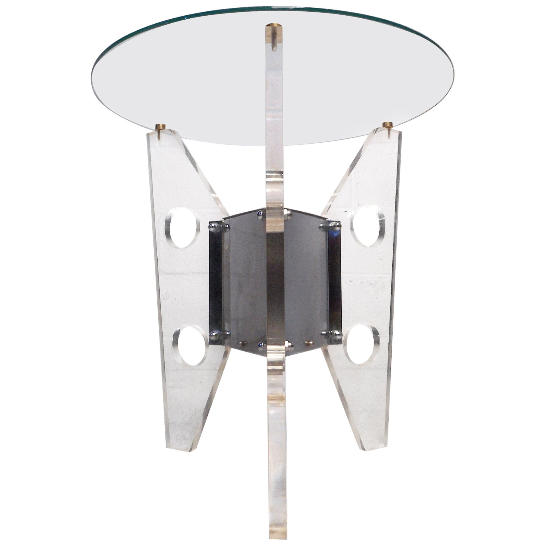 Midcentury Lucite and Chrome End Table after Charles Hollis Jones