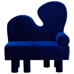 Bordon Blue Velvet Chair by Another Human