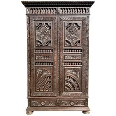 19th Century French Carved Chestnut Armoire from Brittany