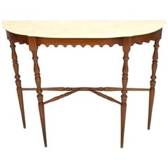 Walnut Console Table with a Demilune Portuguese Pink Marble Top, Italy, 1950s