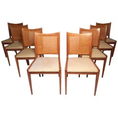 Set of 8 Midcentury Oak and Cane Dining Chairs