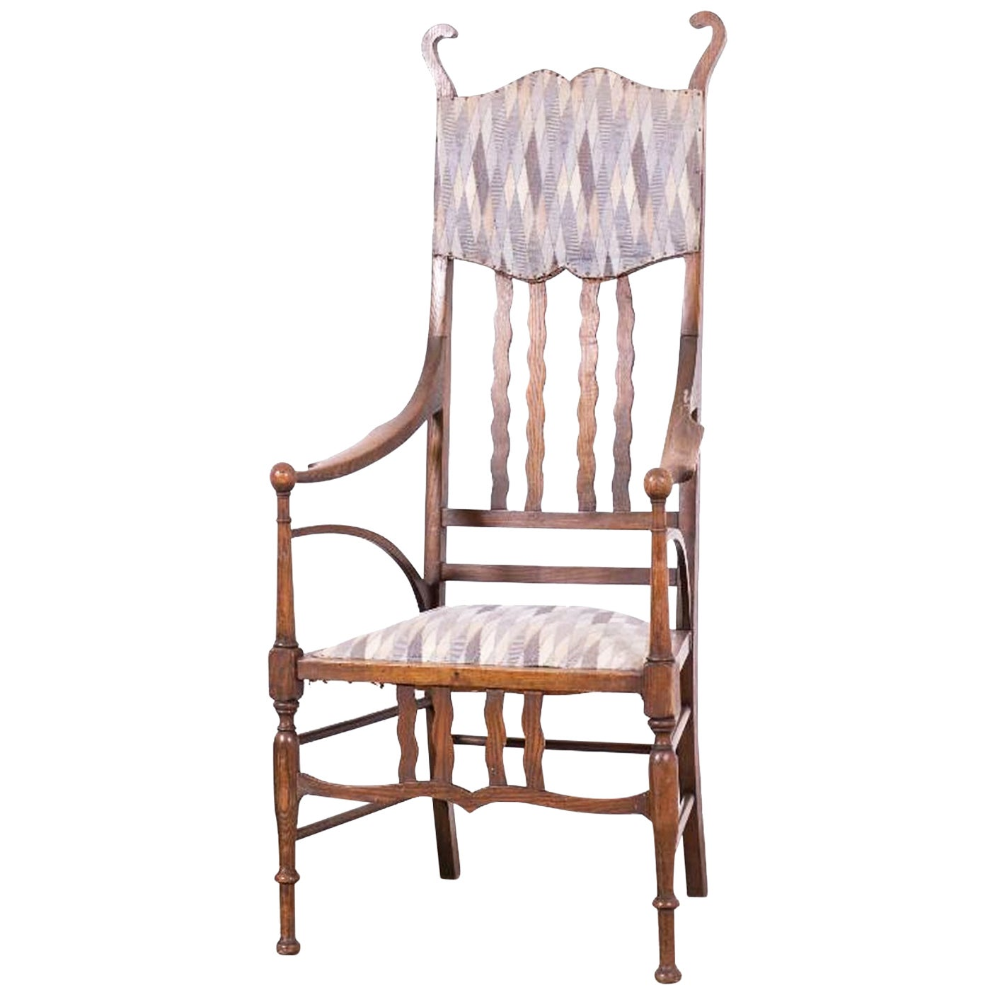 J. S. Henry Arts and Craft  Oak Armchair with Period  Fabric