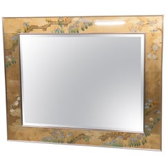 Reverse Painted Gilded Beveled Labarge Eglomise Wall Mirror