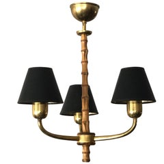 Elegant Austrian Chandelier 1940s with Brass and Bamboo