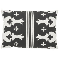 Schumacher Bergama Carbon Ivory Two-Sided Linen Cotton Pillow