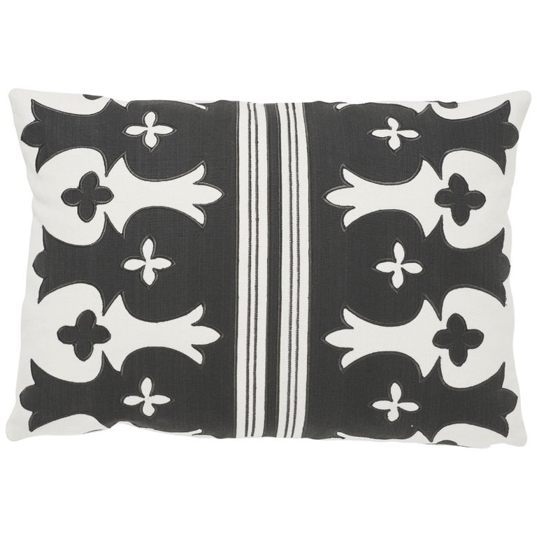 Schumacher Bergama Carbon Ivory Two-Sided Linen Cotton Pillow For Sale