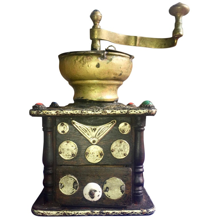 Early 1900s Moroccan Hand Crank Coffee Grinder Silver, Ebony, Coins Functional For Sale