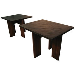 Pair of Adrian Pearsall Brutalist Mid-Century Modern Slate Top End Tables