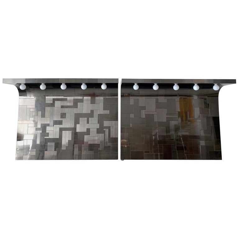 Pair of Cityscape Headboard with Lights Paul Evans for Directional For Sale