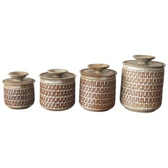 Unusual Set of Four Ceramic Lidded Jars by Gerry Williams