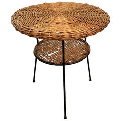 Rattan and Iron Two-Tier Coffee Table Midcentury, Albini Style Italy, 1960s