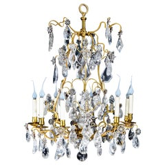 A Fine Antique French Louis XVI Style Gilt Bronze & Cut Rock Crystal Chandelier