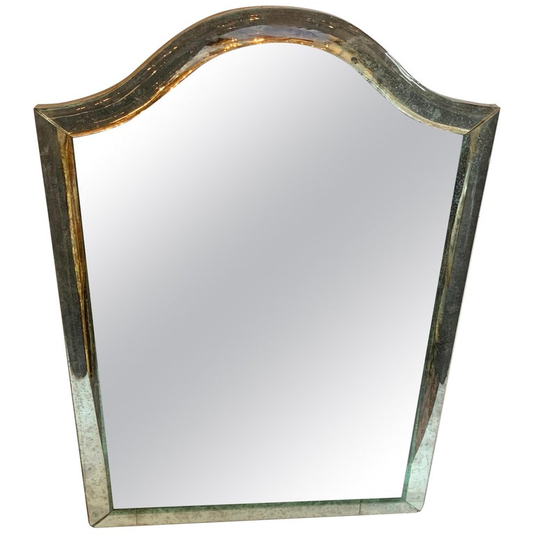 Mid-Century Modern Distressed Venetian Oxidized Pitted Curved Panel Mirror For Sale