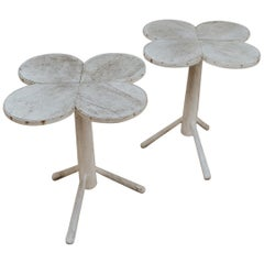 Quirky Pair of Clovershape Walnut Side Tables