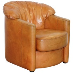 Lovely Vintage Tetrad England Aged Tan Brown Leather Armchair with Shell Back