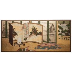 Japanese Antique Six Panel Screen: Inside the Imperial Household