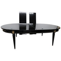 Piano Black Lacquer French Directoire Style Dining Room Table attr Maison Jansen