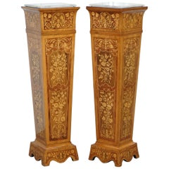 Pair of Vintage Kingwood & Rosewood & Marble Marquetry Inlaid Jardinière Stands