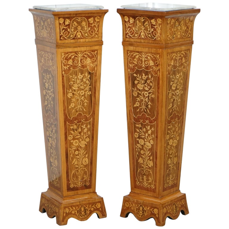 Pair of Vintage Kingwood & Rosewood & Marble Marquetry Inlaid Jardinière Stands For Sale
