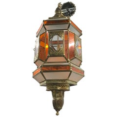 Moroccan Large Orange, White, Clr, Glass Brass Lantern Light Pendant-3 Light
