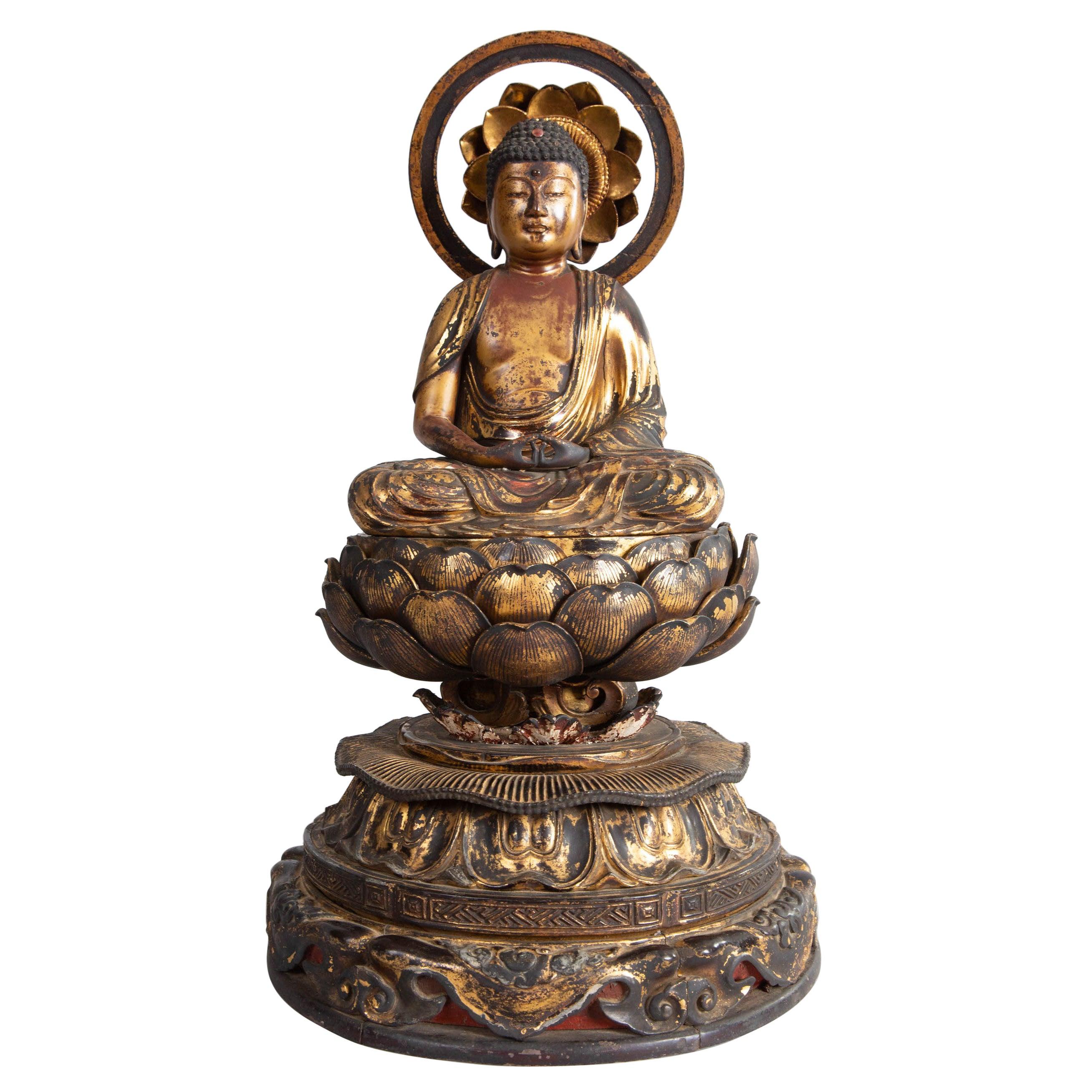 14th Century, Muromachi Period, Japanese Gilded Amida Buddha