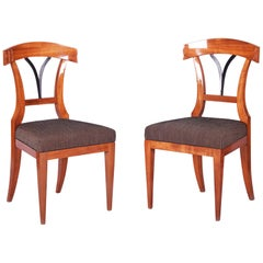 Pair of Czech Biedermeier Chairs, Bohemia, Cherry-Tree, Period 1830-1839