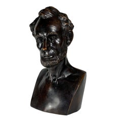 Antique, Lifetime, Thomas Jones Bronze Bust of Abraham Lincoln