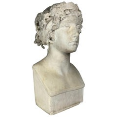 After the Greek Archaic Carved White Marble Bust of Calliope