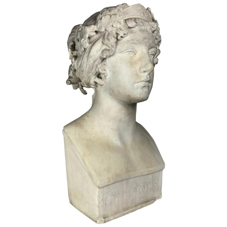 After the Greek Archaic Carved White Marble Bust of Calliope For Sale