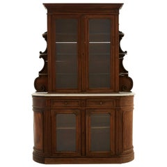 Carved Wood Breakfront Cabinet with Marble Top