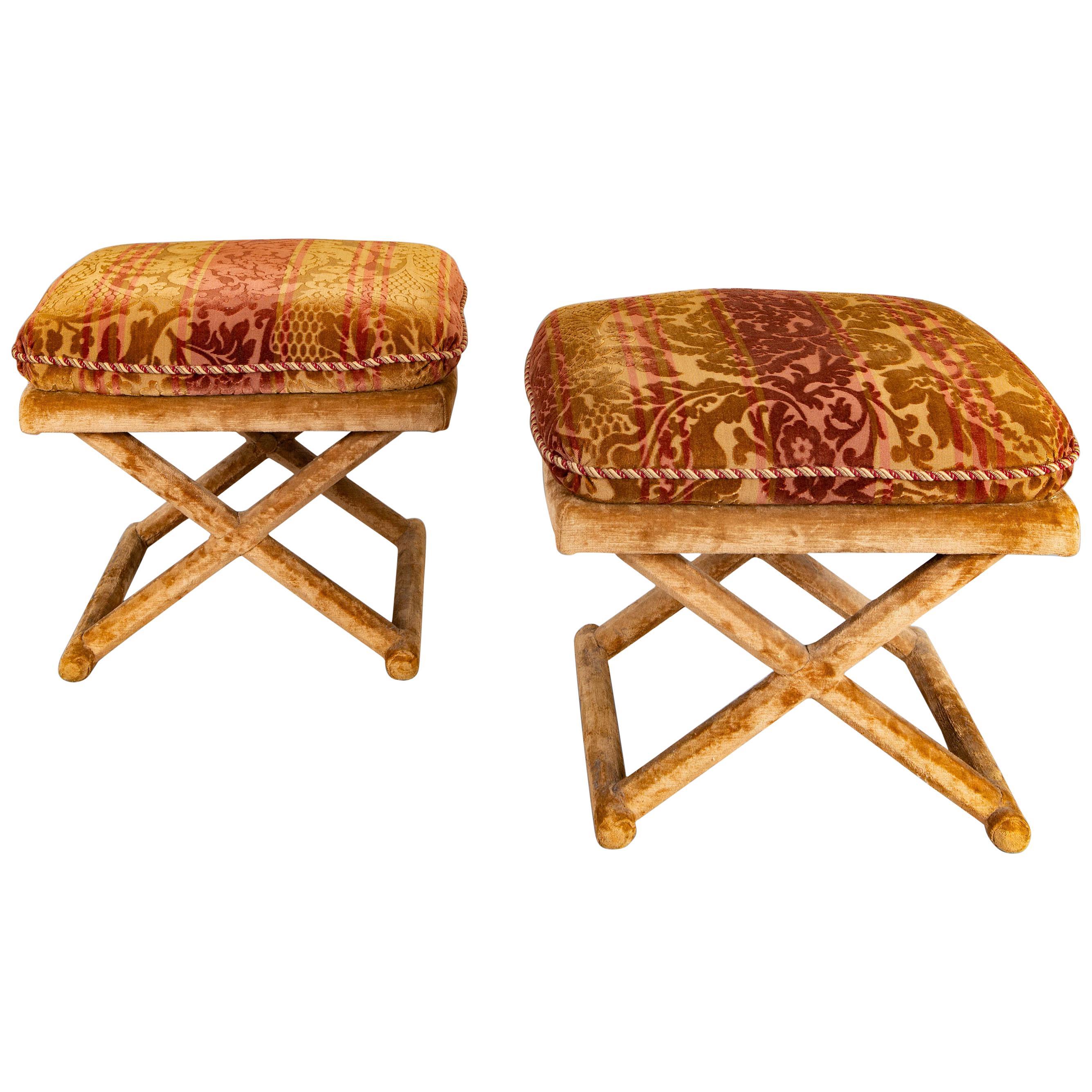Pair of Velvet Upholstered Stools