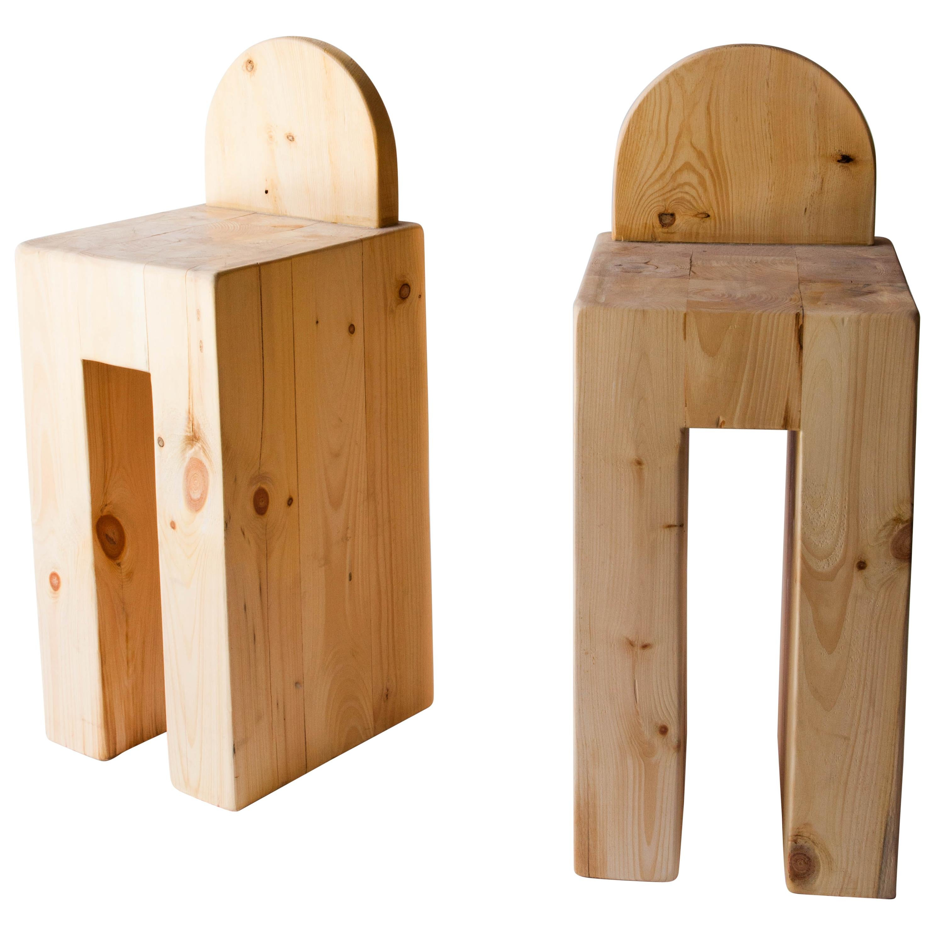 Set of 8 Rustic Solid Pine Barstools