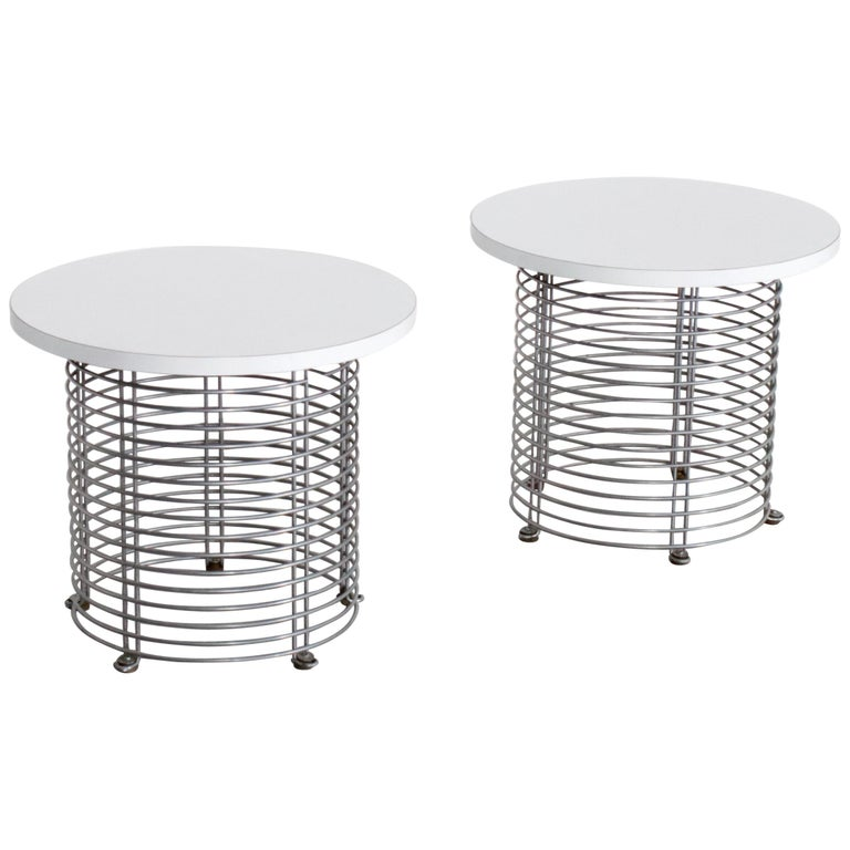 Set of Two 'Pantonova' Wire Tables by Verner Panton for Fritz Hansen, 1971 For Sale