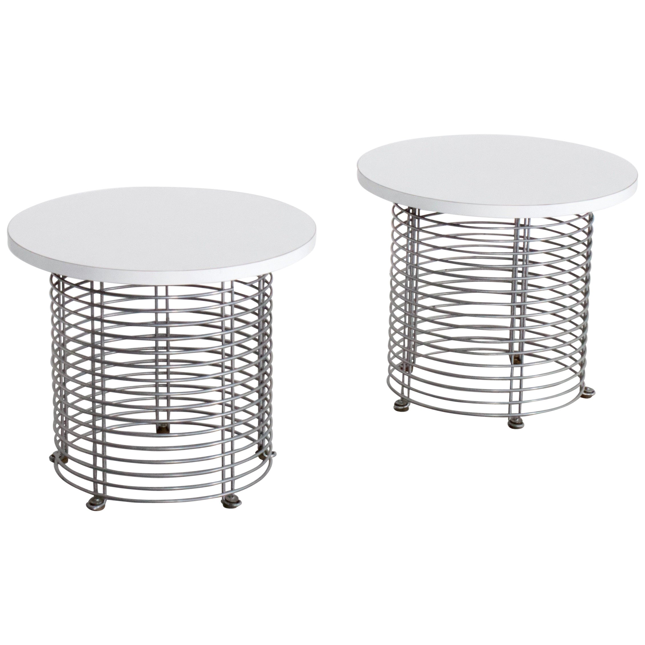 Set of Two 'Pantonova' Wire Tables by Verner Panton for Fritz Hansen, 1971