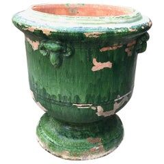 Antique French Glazed Terracotta Planter Anduze Green Color Cachepot Jardiniere