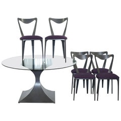Tom Faulkner 6 Tiffany Chairs and Round Capricorn Glass Dining Table