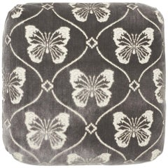 Schumacher Papillion Velvet Pewter Two-Sided Pillow