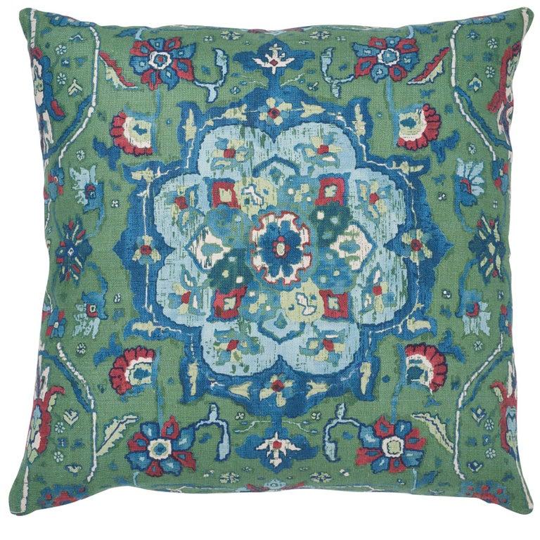 Schumacher Jahanara Carpet Jade Two-Sided Linen Pillow For Sale
