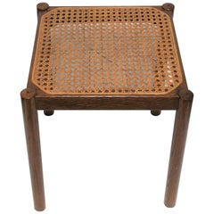 Square Cane and Wood Side Table, circa 1960s