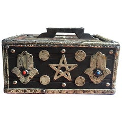 1950s Moroccan Ebony Storage Box Silver Hamsa, Gems, Bone and Coins Tribal Art