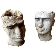 Pair of Concrete Head Sculptural Planters