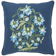 Schumacher Antalya Medallion Embroidery Aegean Two-Sided Linen Pillow