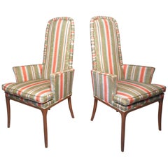 Pair of Midcentury High-Back Upholstered Chairs