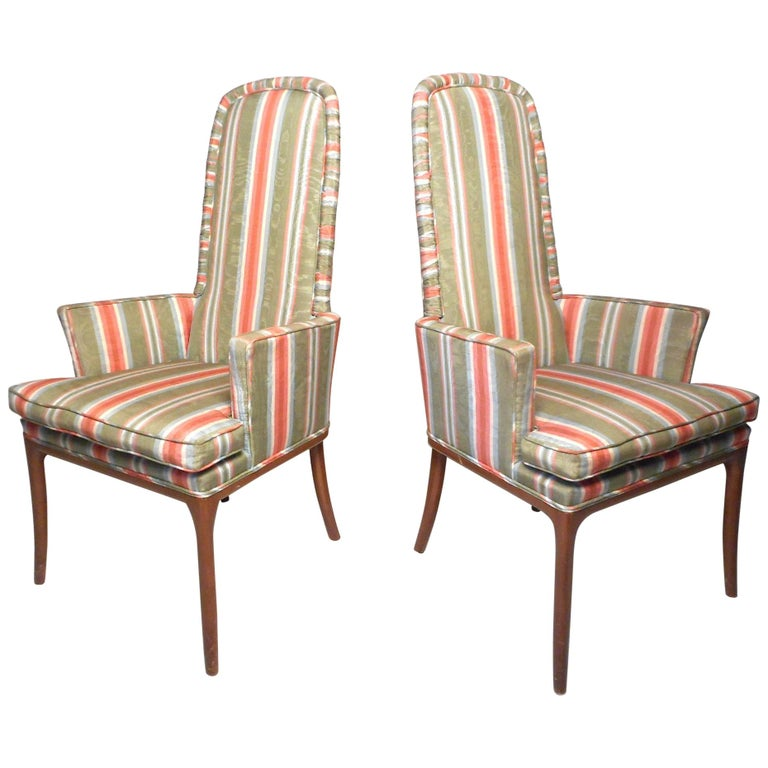 Pair of Midcentury High-Back Upholstered Chairs For Sale